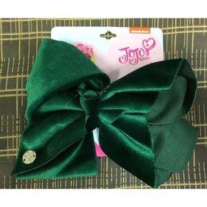 Jojo Siwa Large Hair Bow Solid Dark Green  Velvet